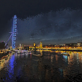 Night at the Thames by Michael Smith - Drawing All Drawing