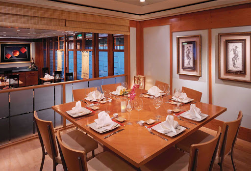 The cozy Shogun Asian Restaurant, on deck 8 of Norwegian Spirit, serves authentic Japanese, Chinese and Thai dishes.