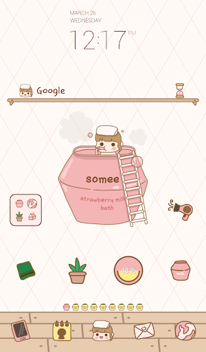 strawberry bath dodol theme