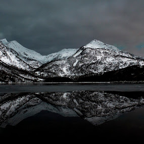 Mountain reflections - 11/11-2014 by Aleksander Hansen - Landscapes Mountains & Hills ( clouds, mountains, winter, aurora borealis, dark, reflections, landscape photography, night, norway )