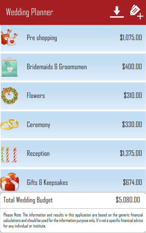 Wedding Budget Planning - screenshot