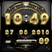 Gold Glow Digital Clock Widget