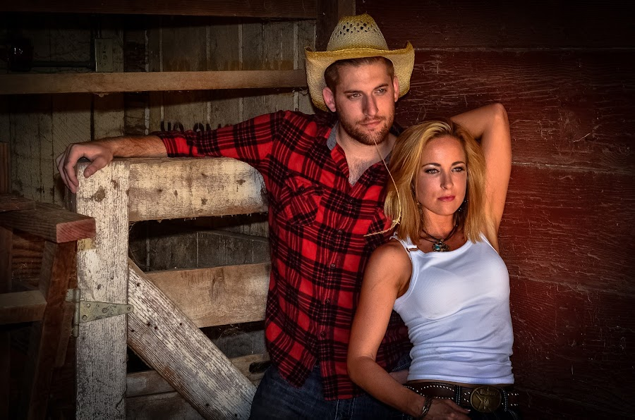 Country Couple by Les Walker - People Couples ( cowboy, barn, cowgirl, western, couple, country )