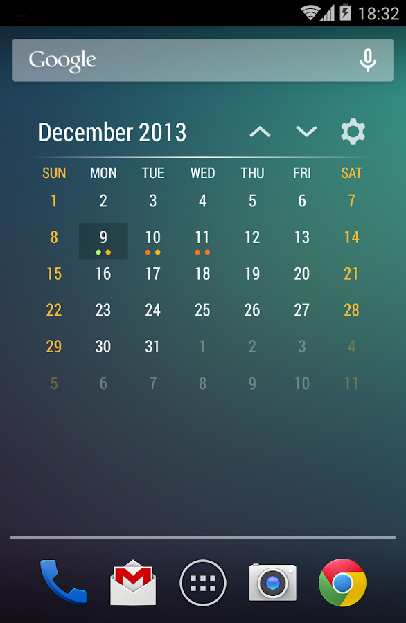 Event Flow Calendar Widget - screenshot