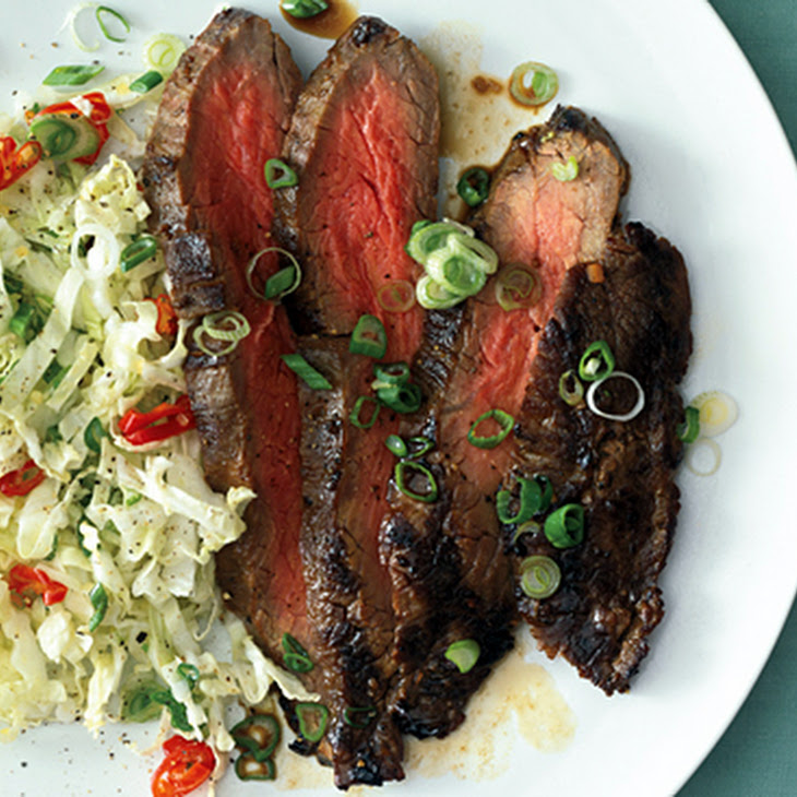 Grilled Asian Flank Steak with Sweet Slaw