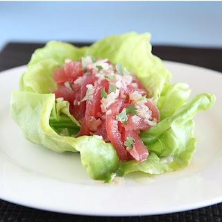 Shaved Tuna Lettuce Cups with Macha Vinaigrette