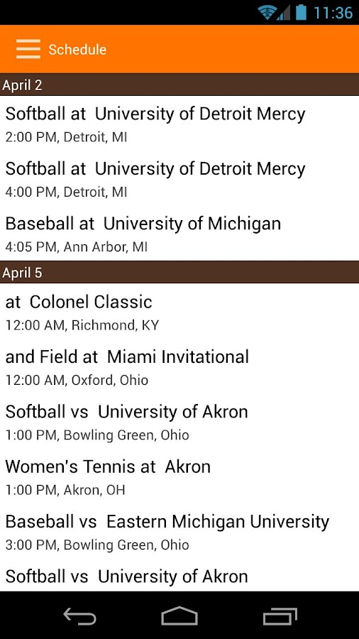 BGSU Athletics - screenshot