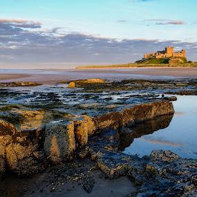 Bamburgh Rocks by John Ash - Landscapes Beaches ( sand, bamburgh, sea, rock, castle, beach, evening )