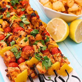 Spicy Chicken Kebabs with Lemon Potatoes.