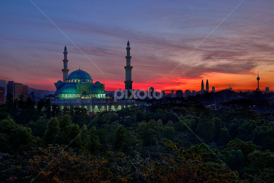 Blissful Sunrise at Masjid Wilayah by Nur Ismail Mohammed - Buildings & Architecture Places of Worship ( colourful, hdr, masjid, mosque, place of worship, sunrise )