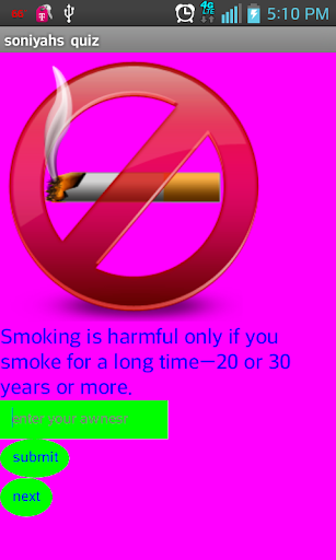 Soniyah's Smoking Quiz