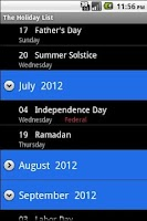 Screenshot of The Holiday List