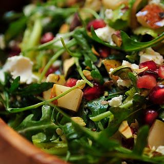 Arugula, Pear and Goat Cheese Salad with Pomegranate Vinaigrette.