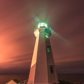Dusk at Cape Spear by Gordon Follett - Buildings & Architecture Public & Historical ( newfoundland, lighthouse photos, lighthouse, long exposure, cape spear, dusk,  )