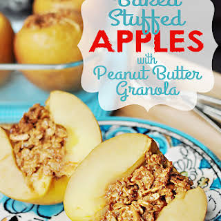 Baked Stuffed Apples with Peanut Butter Granola.