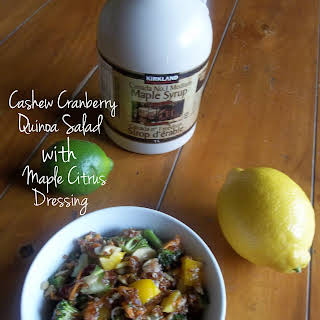 Cashew Cranberry Quinoa Salad with Maple Citrus Dressing (Gluten Free/ Dairy Free/ Vegan Option).