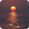 Sunset on the sea icon