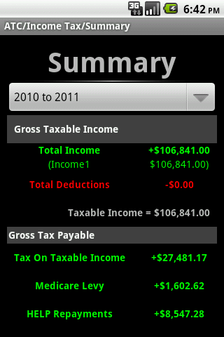 Aussie Tax Calculator Lite - screenshot