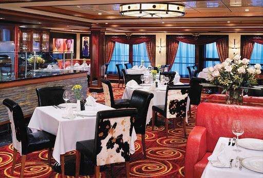 Norwegian-Jewel-dining-Cagneys-Steakhouse - Norwegian Jewel guests like the cozy ambience, steaks and cocktails of Cagney's Steakhouse.