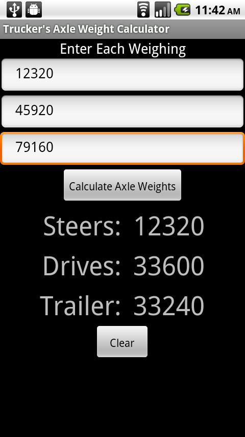 Trucker's Axle Weight Calc- screenshot