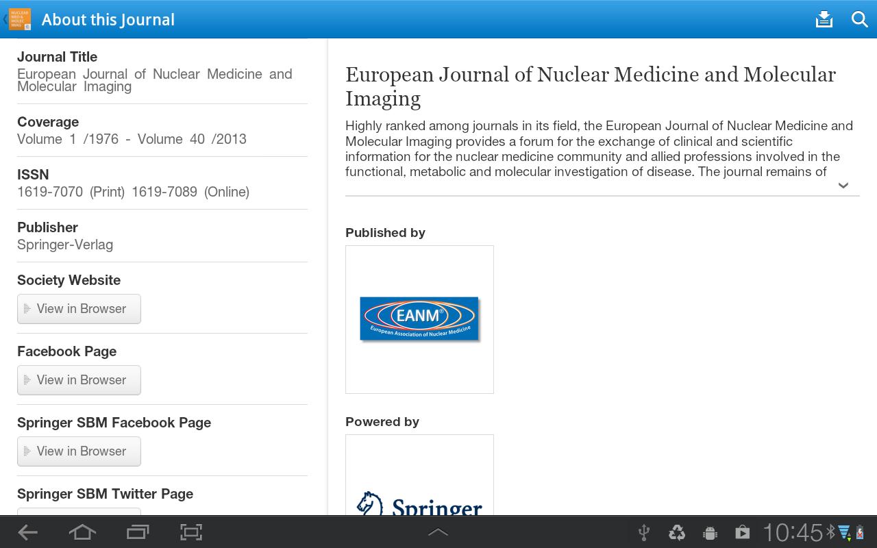 EJNMMI – Official J of EANM - screenshot