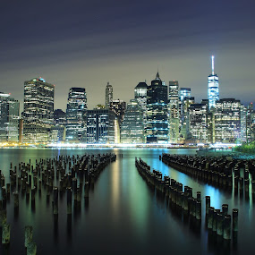 The night city by Katsuhiro Kaneko - City,  Street & Park  Skylines ( canon, manhattan skyline, eos, night photography, long exposure, manhattan, cityscape, nyc, new york city, new york, ny, nightscape )