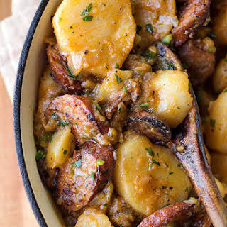 Saucy Hungarian Red Potato Goulash with Smoked Sausage and Savory Caramelized Onions.