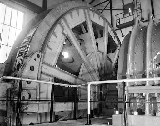 Flywheel of the electric hoisting machine of the Luisenthal pit, 1967