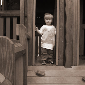 little boys playground by Skye Stevens - Babies & Children Children Candids ( child, playground, sepia, black and white, children candids, children, boy,  )