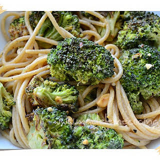 Spaghetti with Broccoli and Peanut Butter Dressing.