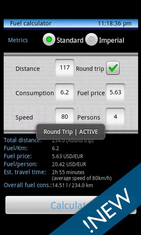 Trip calculator - old- screenshot