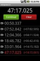 Screenshot of eStopwatch