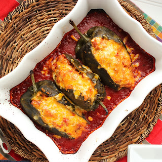 Cheesy Andouille and Quinoa Stuffed Poblano Peppers.
