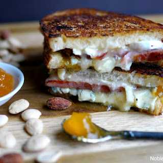 Melty Ham, Brie and Peach Grilled Cheese.