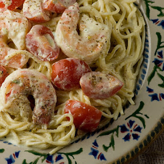 Pasta with Shrimp and Feta Cheese Sauce.