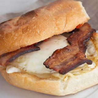 Bacon and Egg Sandwich with Pepper Jack.