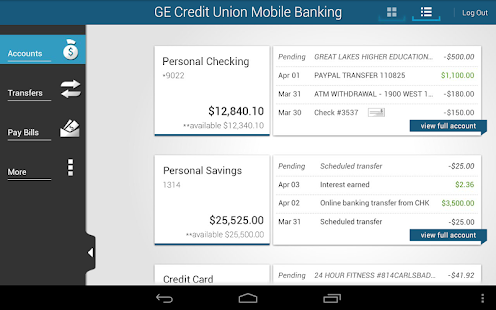 GE Credit Union Mobile Banking - screenshot thumbnail