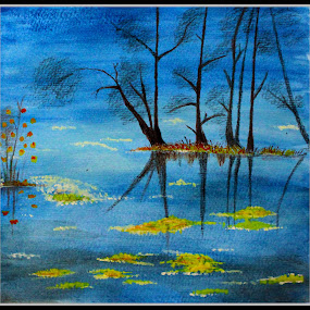 Reflections.. by Mili Shrivastava - Painting All Painting ( water, reflection, waterscape, blue )