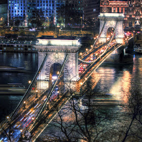 An evening by the Danube... by Avishek Patra - Buildings & Architecture Bridges & Suspended Structures ( hungary, budapest, chain bridge, night, bridge, danube, nightscape, , colorful, mood factory, vibrant, happiness, January, moods, emotions, inspiration )