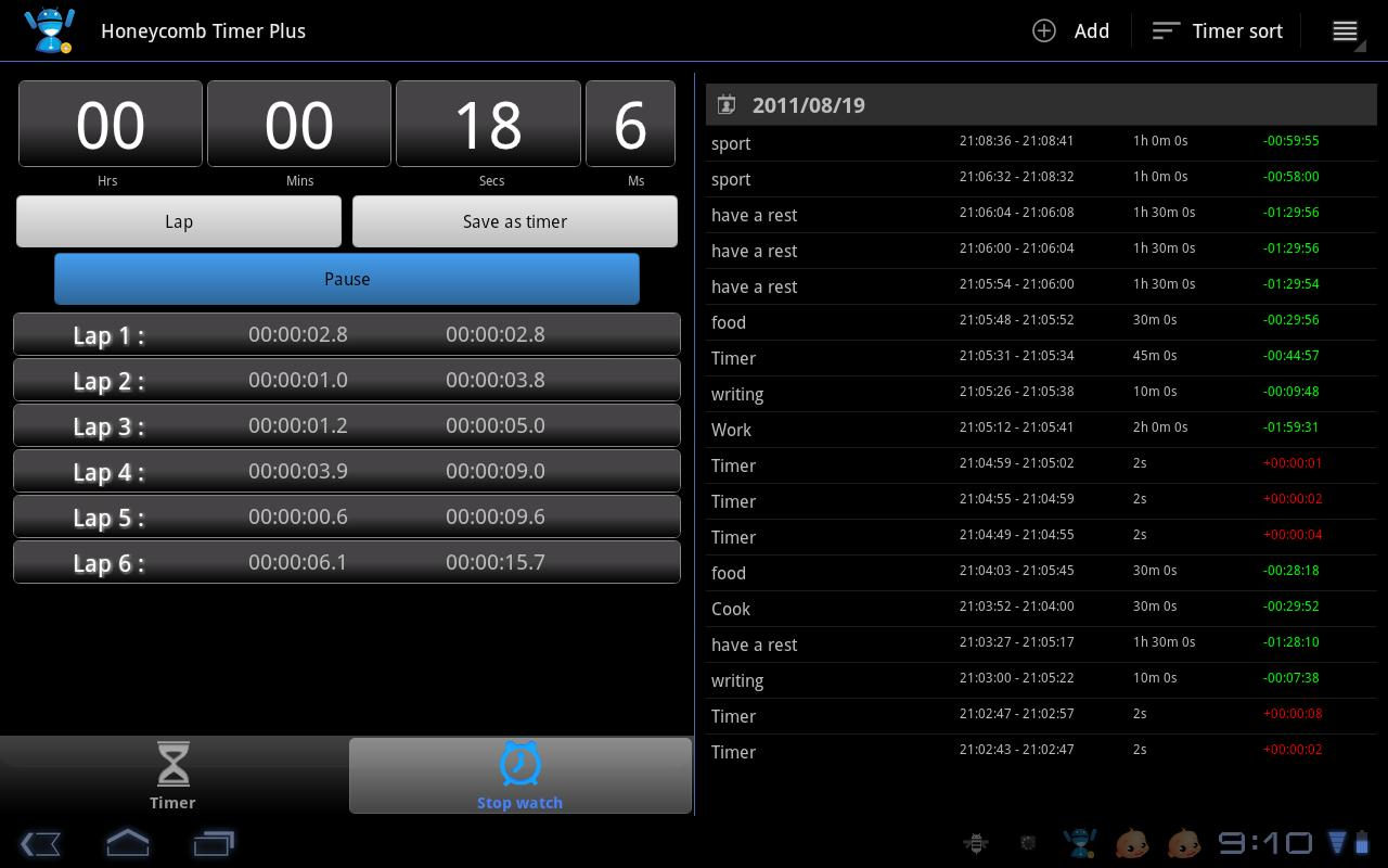 Tablet Timer & Stopwatch Pro - screenshot