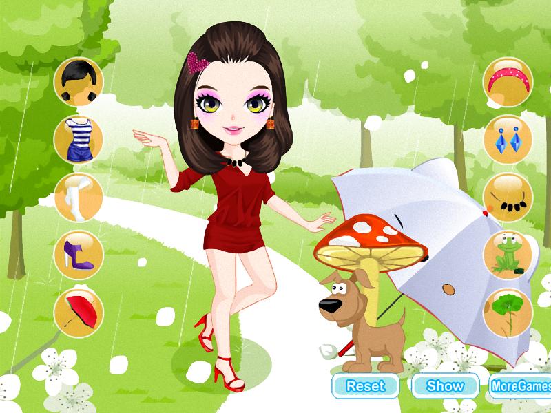 Meisie in die reën rok aan screenshot