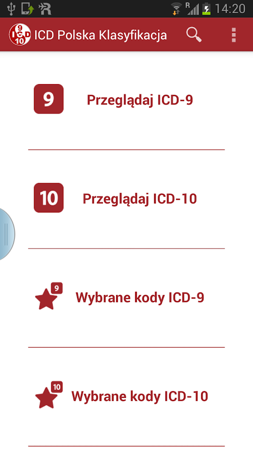 ICD Polska Klasyfikacja - screenshot