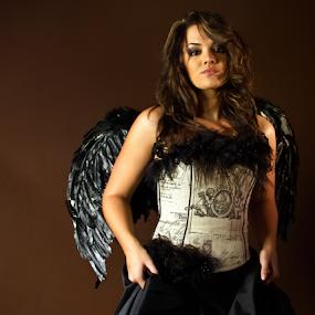 Angel in black by Trippie Visser - People Portraits of Women ( studio, model, wings, dress, black )