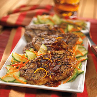 Teriyaki-Glazed Turkey Cutlets with Cucumber Salad.