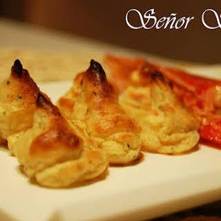 Duchess Potatoes with Shrimp.