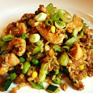 Brown Fried Rice with Chicken and Vegetables.