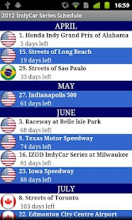 2014 IndyCar Series Schedule - screenshot thumbnail