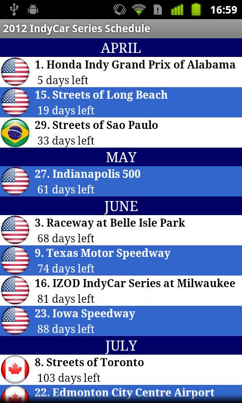 2014 IndyCar Series Schedule - screenshot