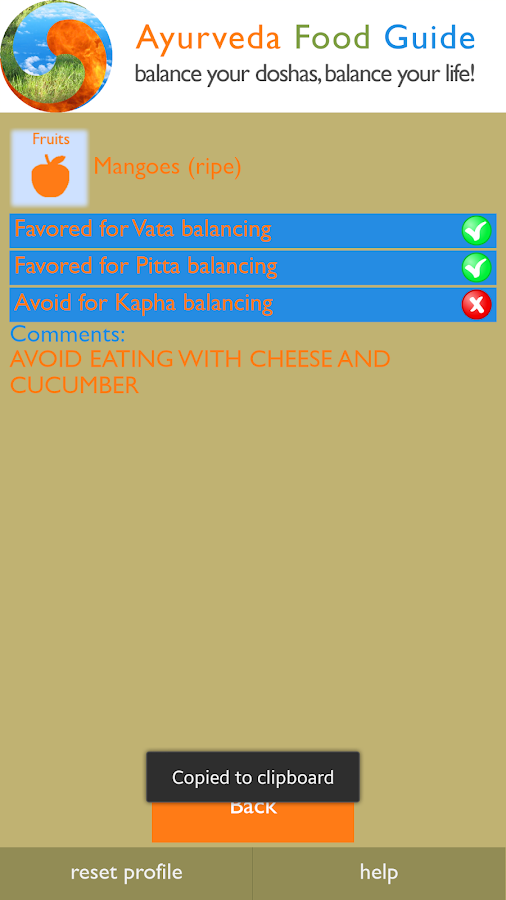 Ayurveda Food Guide- screenshot