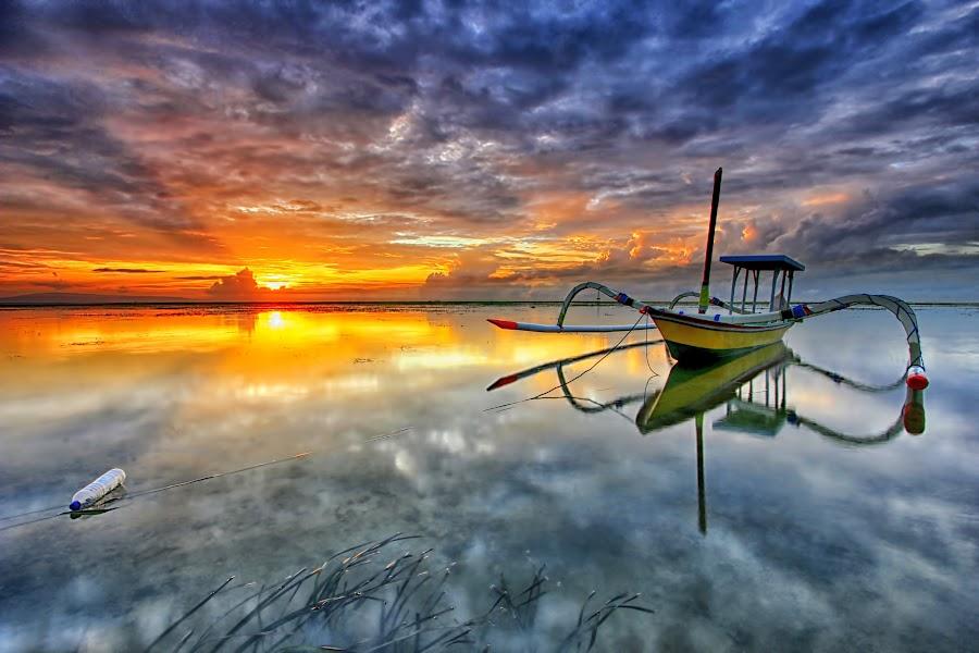 Shine by Agus Eka Kurniawan - Transportation Boats ( bali, cloud, sunrise, beach, boat, landscape )